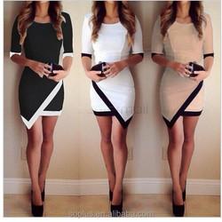 Women Vestidos Casual Bandage Bodycon Dress Ladies O-Neck Half Sleeve Asymmetric Patchwork Elegant Short Mini Dress