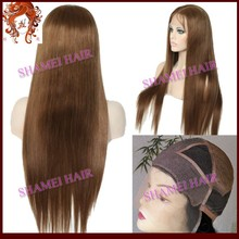 Shandong Qingdao Wig New Design Silk Top Virgin European Hair Dark Brown Silk Straight Full Lace Wig