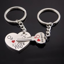 2015 New Couple I LOVE YOU Keyring for gift , Metal Heart Couple Keychain , Lover Romantic Creative Key Chain