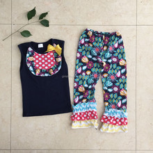 Wholesale Cheap Hot Sale Brand Name Remake Easter Ruffle Pants Bib Style Kids Clothes Set Peasant Coutry Girls Boutique Outfit