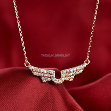 Fashion rose gold plated angel wings silver chain necklace with Cubic Zirconia micro pave for women