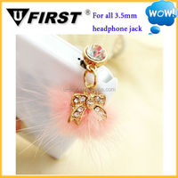 Hot sale newest fashionable rhinestone earphone plug phone dust plug, fur bow plug