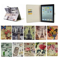 New Fashion Leather Colorful Print Leather Card Holder Case for Apple iPad 2 3 4 Card Slot Wallet