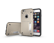 TPU & PC otterboxing hybrid stand back heat radiation net phone case for iphone 6s