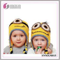 2016 Best Design Winter Creative Minions Hand-knit Wool Hat Children Ear Crocheted Hat