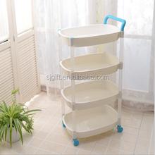 plastic bathroom storage/4 layer plastic rack/household plastic items With wheels