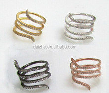 Fashion silver long snake adjustable ring with cz paved in rose gold animals snake gold ring women snake ring with black gold