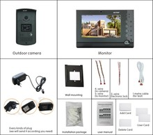 Motion detdctor memory and 4pcs CCTV video PIR digital video door phone with high quality customer service