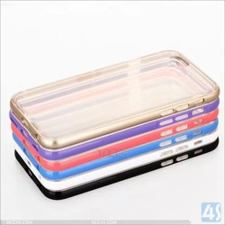 2 IN 1 Aluminum+TPU Clear Transparent MOBILE PHONE BAGS & CASES For iphone 6 case aluminium