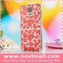 2015 full heart bling cell phone cases for galaxy note 4 with love, plastic for samsung galaxy note 4 hard case