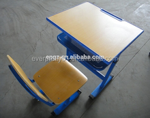 High Quality School Student Desk Set with Metal Frame, Classroom Desk and Chair Set
