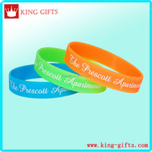 Blue and green and brown color silicone wristband with print white color