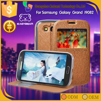 Smart phone PU leather wallet case for samsung i9082 galaxy grand duos