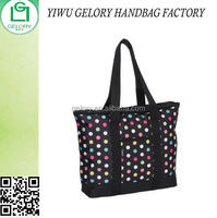 Women's Fashion Polka Dot Shopping Tote bag Printed Polyester Zipper Carry bag with outer pockets
