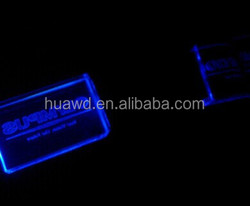 1gb-64gb 3D Crystal USB drives laser engraved glow USB flash memory thumb drive with LED light