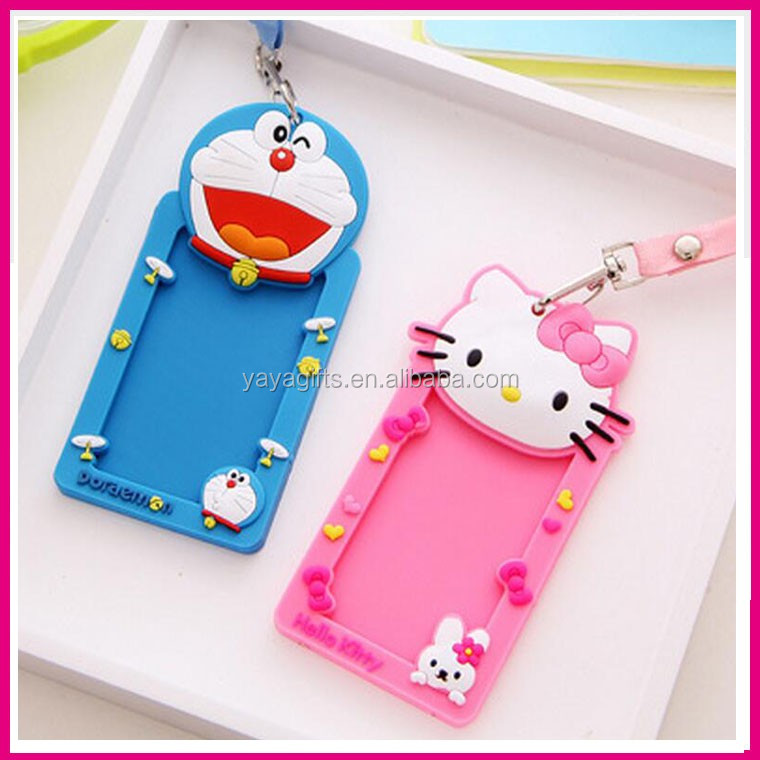 Hello kitty shaped business card cover pvc silicone passport case business card cover pvc silicone passport case bus id card holder with lanyard rope reheart Choice Image