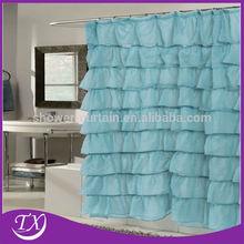 ventas calientes, cortina de ducha con cenefa de tela elegante de doble botín