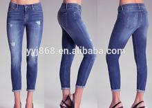 Nuevo diseño de las mujeres al por mayor azul de mezclilla pantalones vaqueros pitillo con el recorte de detalle slash