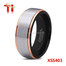 jewelry fashion men's tungsten ring with black&rose gold plated and silver brushed surface 8mm