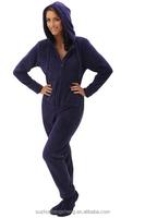 Women's Solid Fleece Hooded Footed One Piece Onsie Pajamas