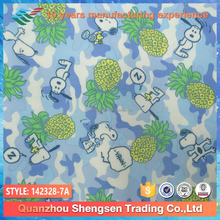 new design dyed cartoon camouflage dog and fruit lycra fabric for children