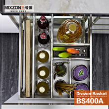 Spice Basket OEM Factory Pull Out Drawer Organizer Kitchen Cabinet Condiment Sliding Basket Two Tiers Spice Bottle Rack BS400A-1