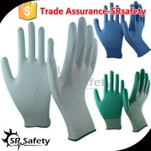 SRSAFETY water based white pu gloves with cheap price and best quality