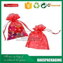 manufacture wholesale printed samll heart organza bags