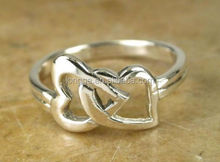 PRETTY UNIQUE STERLING SILVER CONNECTED HEARTS IMPRINT LOVE RING