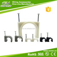 Free samples round cable clips white black plastic wall cable clip 4mm 6mm 8mm c clips with certificate