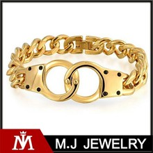 Bling jewlery gold plated stainless steel handcuff bracelet