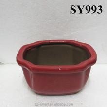 New products 2015 red glazed desk bonsai pot