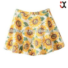 young girls short skirt sunflower printed skirt JXF238