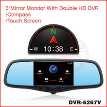 Manufacture 5 Inch Car Radar Detector HD DVR ( Front and back)/Compass/Touch Screen