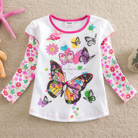 2-6Y (65530#white)Floral Winter Girls T-shirts Brand Children's Clothes Girl's Casual Lovely Shirt Long Sleeves T-shirts