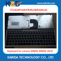Original new Laptop Keyboard for IBM Lenovo Ideapad Z500 Z500A U510 P500 IT black with frame