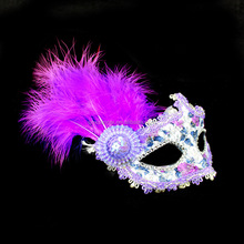 Hot sale cheap Ladies PVC Purple Masquerade mask with feather side