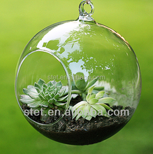 Cheap wholesale different type hanging decoration flower shaped glass vase