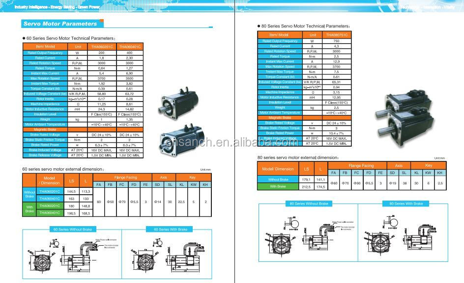 PLC control 3 phase ac servo motor drive for 400w 3000 rmp motor ...