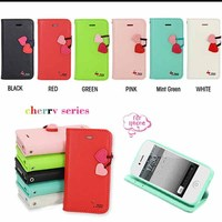 cute cherry pu leather flip wallet stand case cover for iphone 5 5s