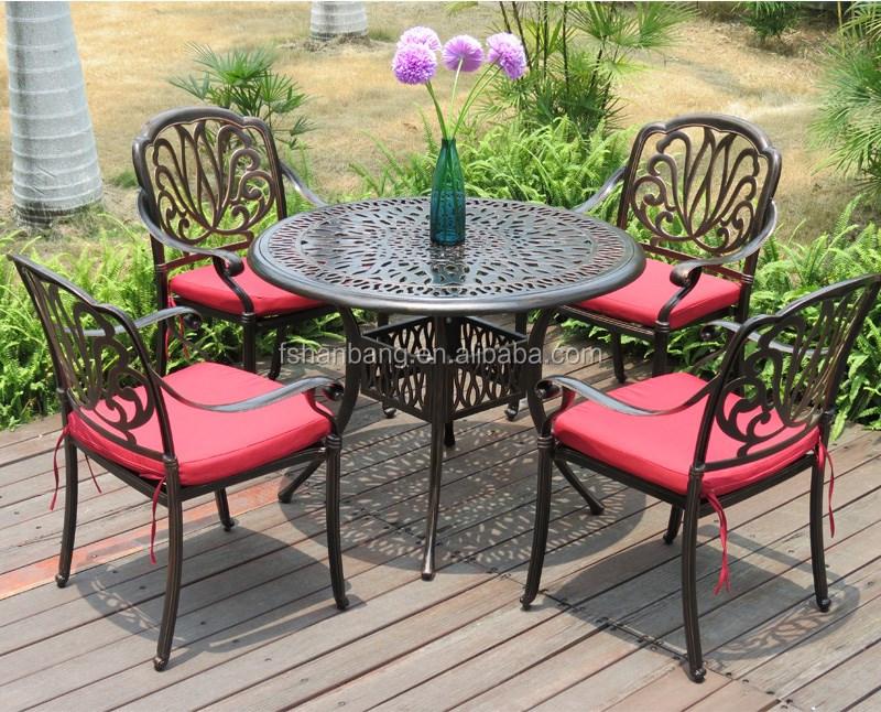 heavy-duty all weather resistente rotondo tavolo da pranzo e sedie ... - Metallo Patio Tavolo E Sedie Rotondo