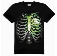 Europe 3D printing Men's short sleeve rock cotton Black skeleton t-shirts wholesale
