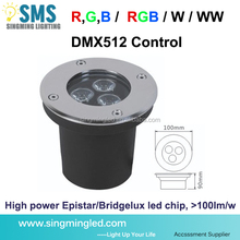 3 years warranty IP67 Bridgelux high lumen yellow/green recessed 3w led in ground light for garden
