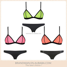 2015 Popular STOCK Peach Triangle Tops Sexy Neoprene Bikini Swimwear