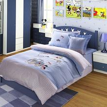 100% cotton plain desige and lovely cartoon comfortable blue kids bedding set for boys