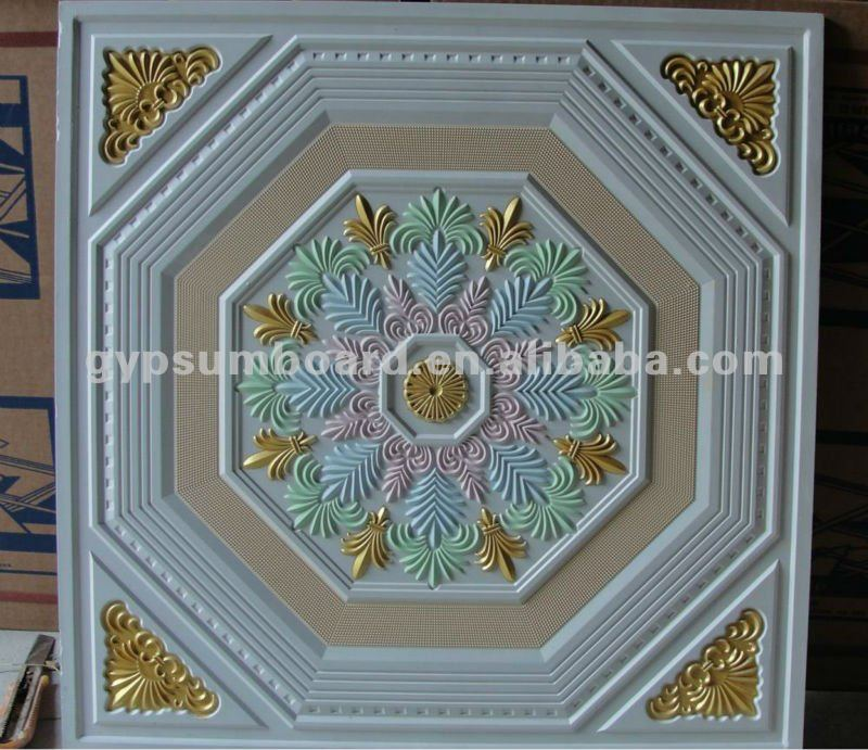 Painted Gypsum Board : Painted artistic fiberglass gypsum ceiling tiles