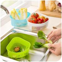 2015 colorful safe PP plastic drain basket rack collapsible colander strainer food rice fruit storage