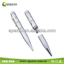 low cost metal gift pen usb flash drive16gb,pen drive with laser pointer