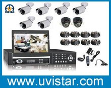 7 inch TFT LCD Screen DVR cctv system + 8 pcs ccd cameras + 1000G Hard drive security system
