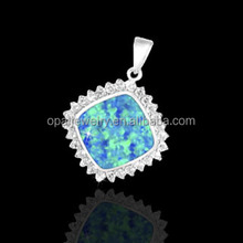 Europe Fashion White Gold Plating Rhombus Shaped Opal 925 Silver Pendant Charms